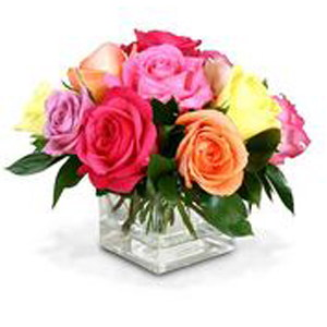 12 Boxed Mixed Roses with Block Vase