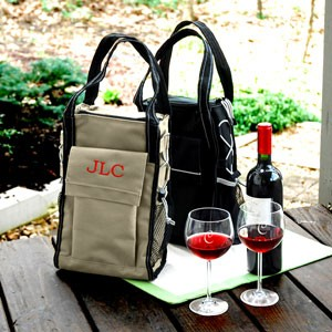 Black Insulated Wine Cooler Tote