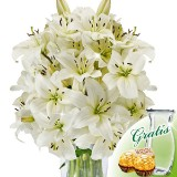 10 white lilies bunch