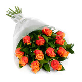 12 Orange Roses bouqet