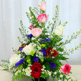 12 Mixed Roses in Basket