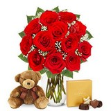 1Dozen Red Roses with Godiva Chocolates and Bear
