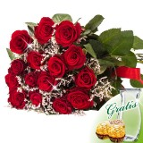 Bunch of 15Red Roses with Limonium with Vase