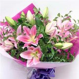Pink Lilies Mixed with Green