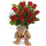 Dozen Roses N Small Teddy Bear