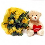 Yellow Roses with Cuddly Bear